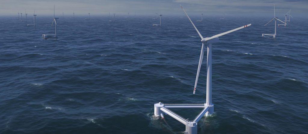 Molinos de viento en medio del Océano atlántico